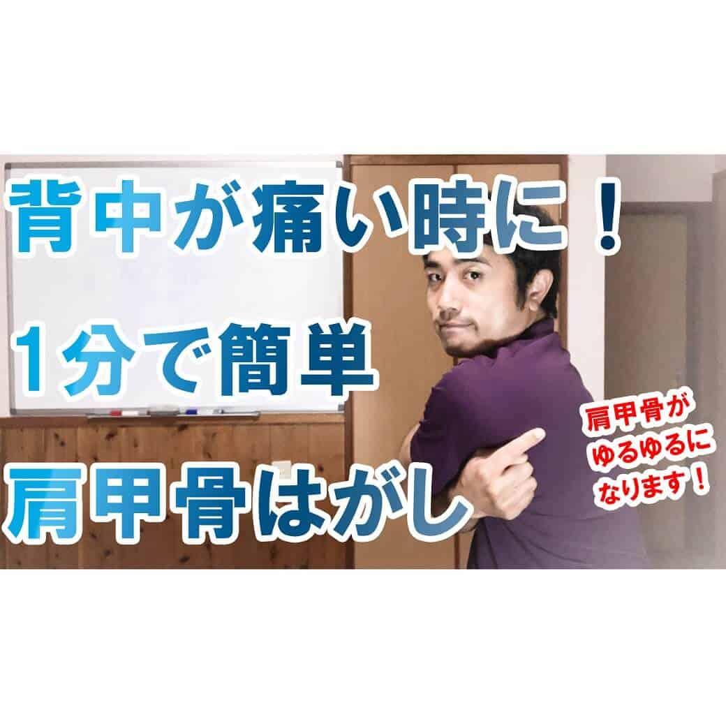 背中が痛い時に!1分で簡単肩甲骨はがし【セルフ整体】s(1)